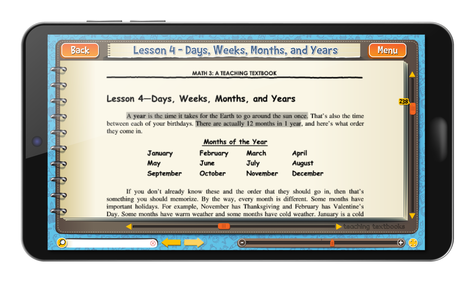 Math 5 4.0 eBook screen