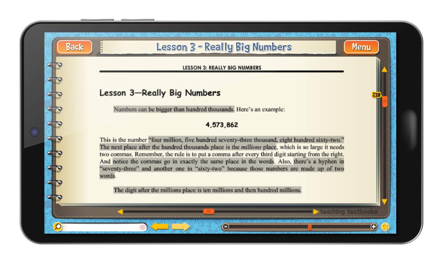 Math 6 4.0 eBook screen