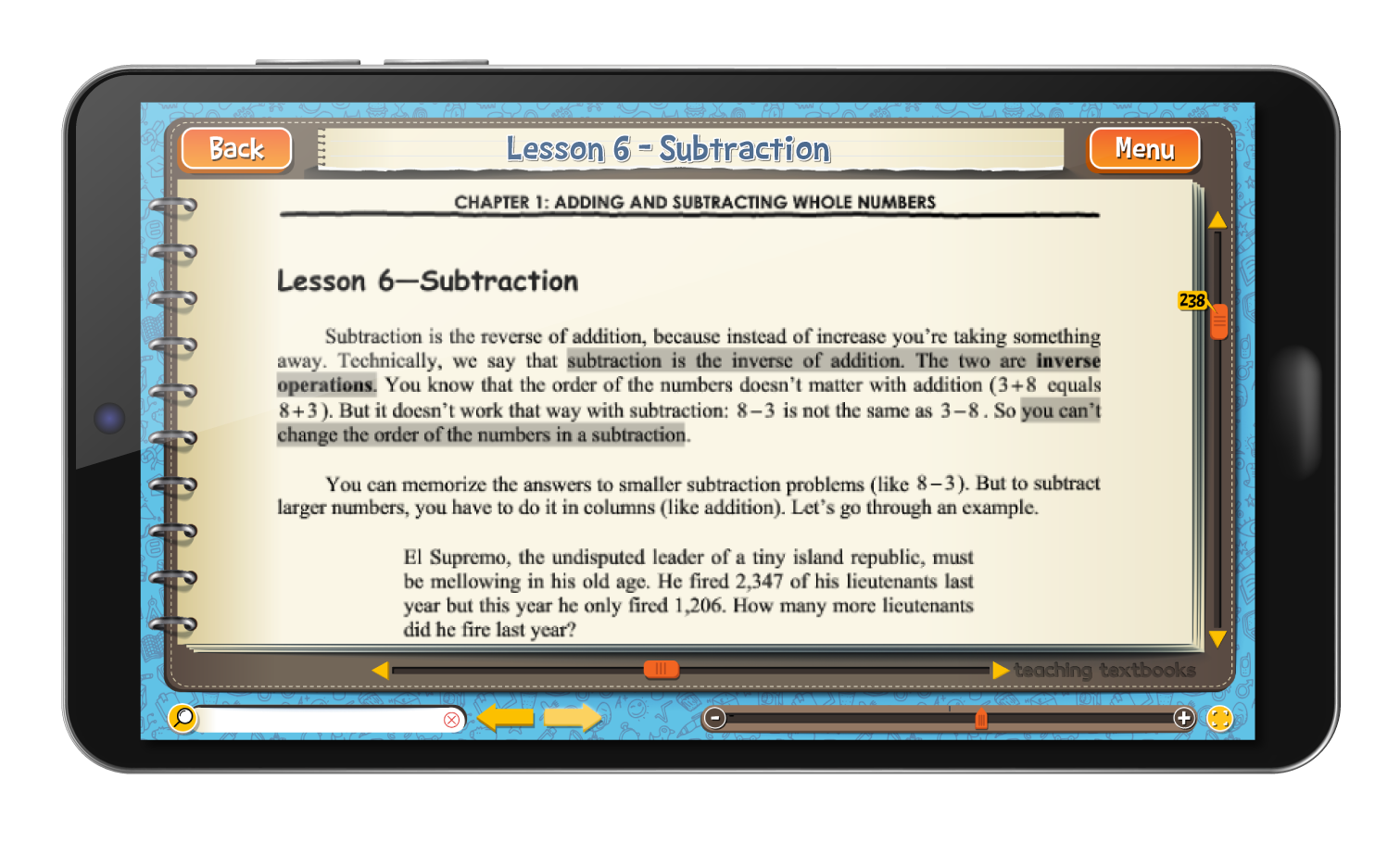 Math 7 4.0 eBook screen