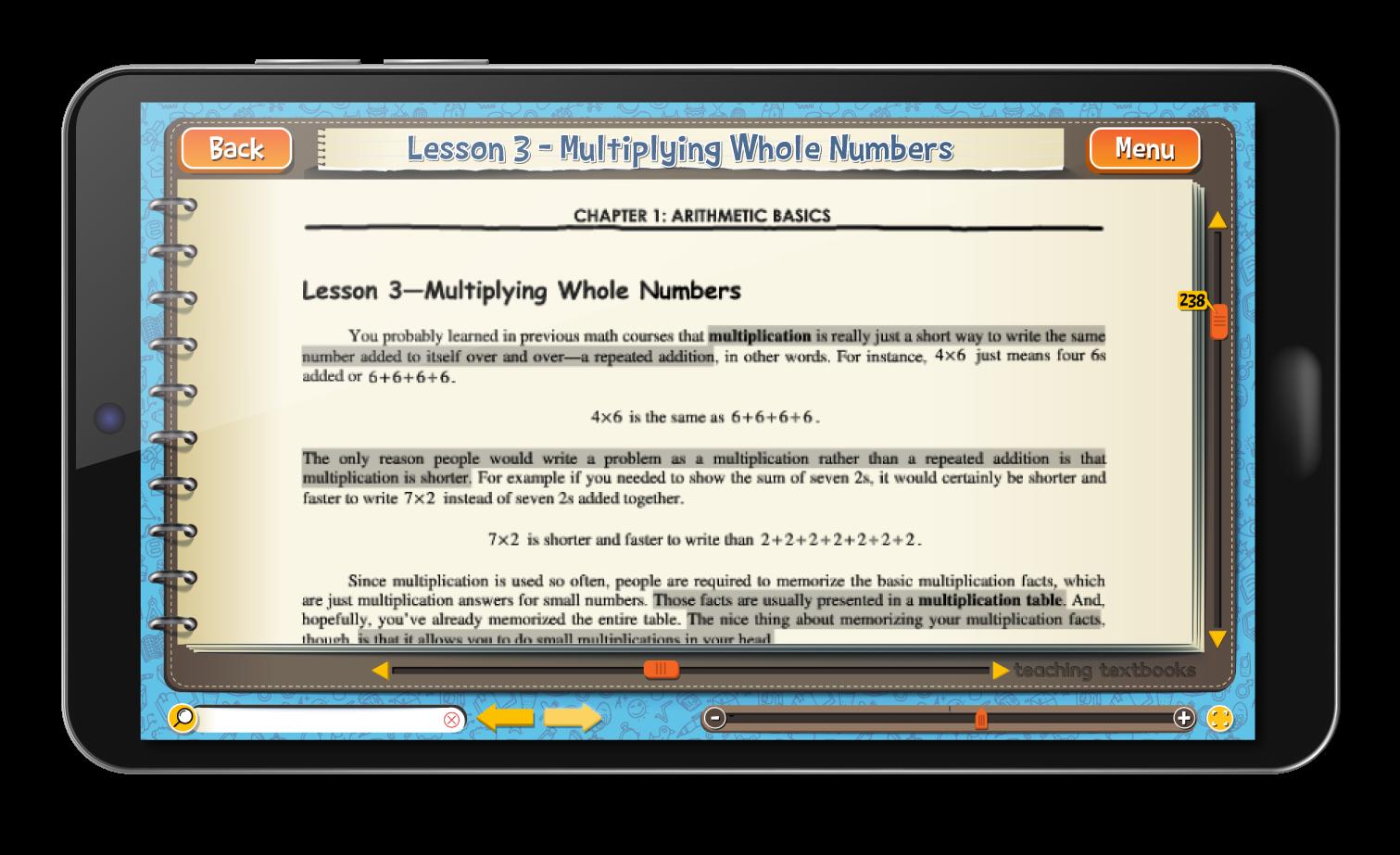 Pre-Algebra 4.0 eBook screen